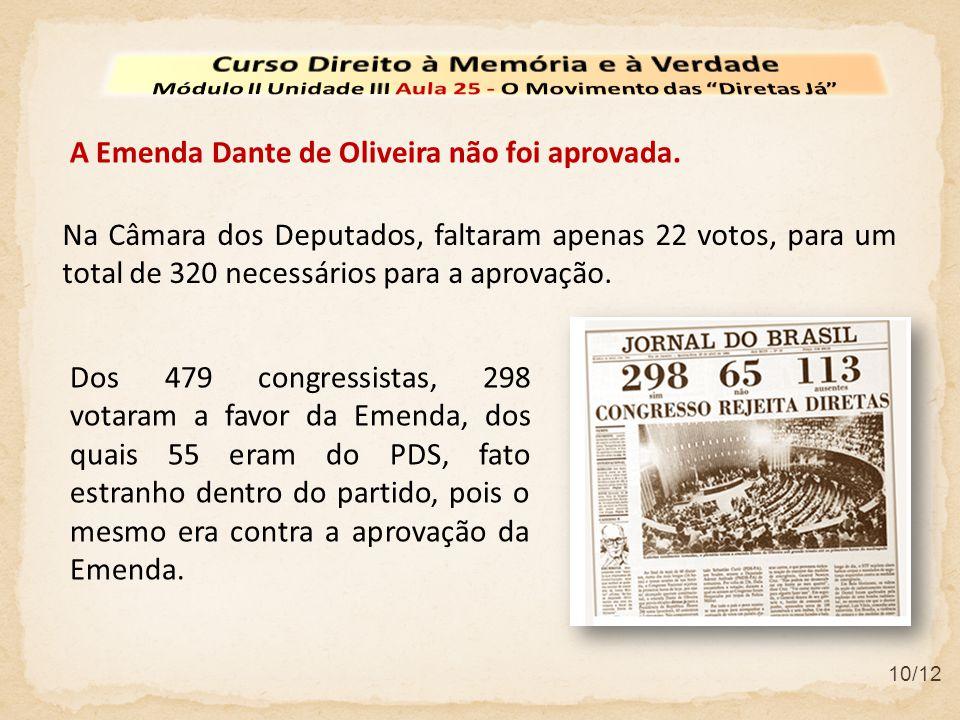 10/12 Na Câmara dos Deputados, faltaram apenas 22 votos, para um total de 320 necessários para a aprovação. Dos 479 congressistas, 298 votaram a favor