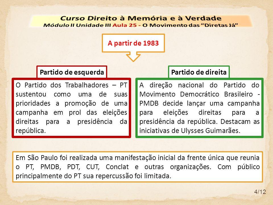 A direção nacional do Partido do Movimento Democrático Brasileiro - PMDB decide lançar uma campanha para eleições direitas para a presidência da repúb