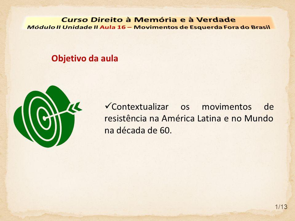 Contextualizar os movimentos de resistência na América Latina e no Mundo na década de 60. Objetivo da aula 1/13