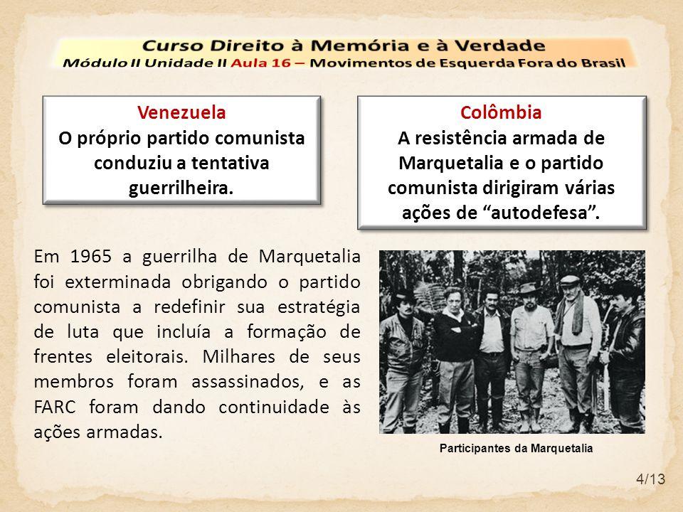 4/13 Venezuela O próprio partido comunista conduziu a tentativa guerrilheira. Venezuela O próprio partido comunista conduziu a tentativa guerrilheira.