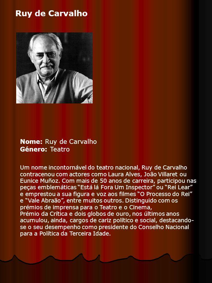Nome: Ruy de Carvalho Género: Teatro Um nome incontornável do teatro nacional, Ruy de Carvalho contracenou com actores como Laura Alves, João Villaret ou Eunice Muñoz.