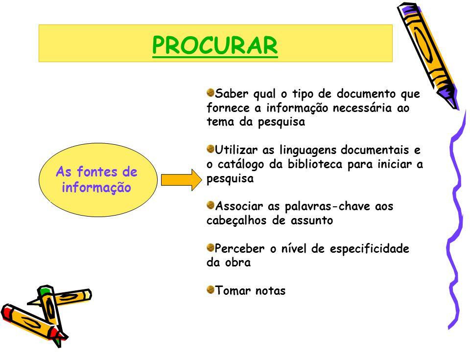 PROCURAR As fontes de informação Saber qual o tipo de documento que fornece a informação necessária ao tema da pesquisa Utilizar as linguagens documen