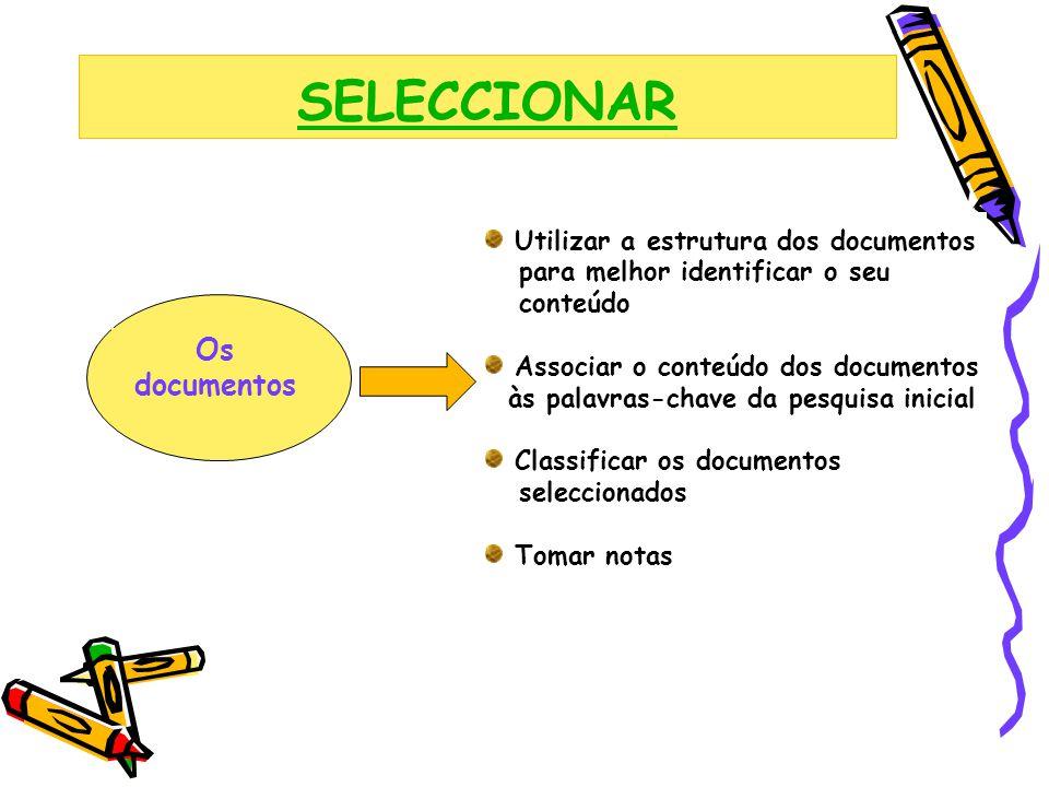 SELECCIONAR Os documentos Utilizar a estrutura dos documentos para melhor identificar o seu conteúdo Associar o conteúdo dos documentos às palavras-ch