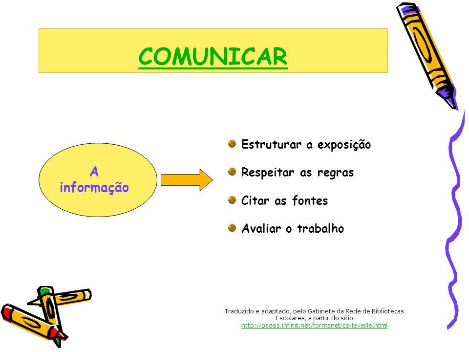 COMUNICAR A informação Estruturar a exposição Respeitar as regras Citar as fontes Avaliar o trabalho Traduzido e adaptado, pelo Gabinete da Rede de Bi