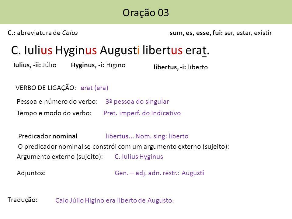 C.Iulius Hyginus Augusti libertus erat. Caio Júlio Higino era liberto de Augusto.