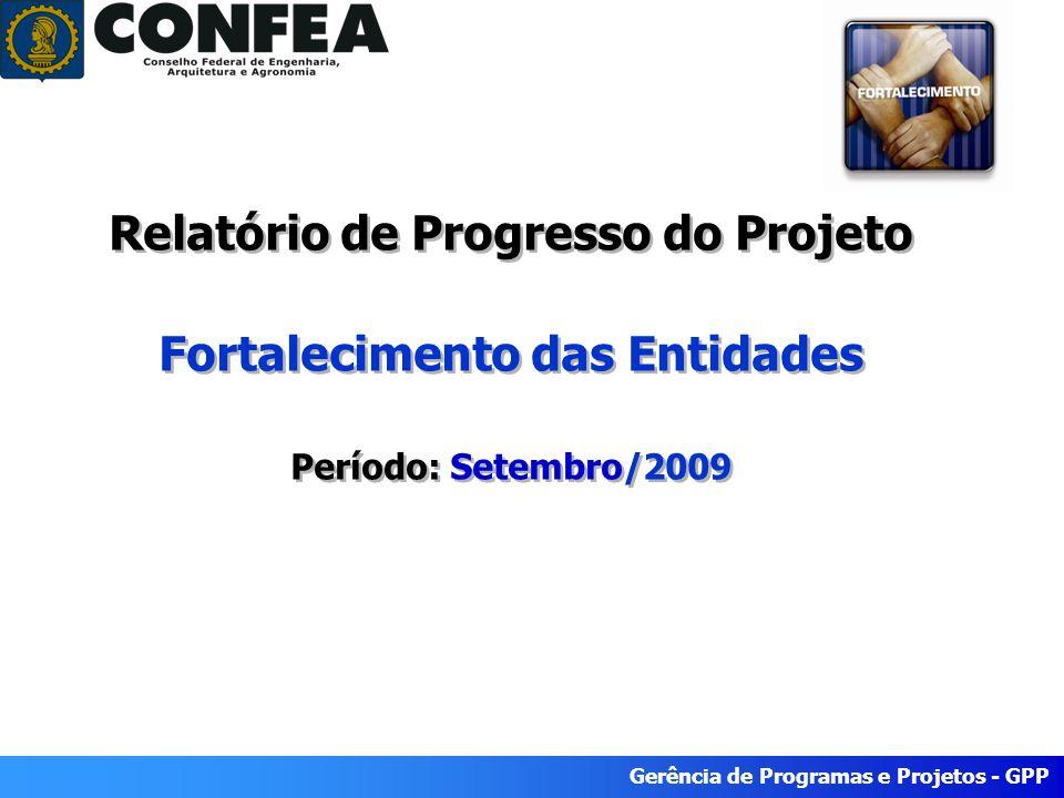 Gerência de Programas e Projetos - GPP Relatório de Progresso do Projeto Fortalecimento das Entidades Período: Setembro/2009