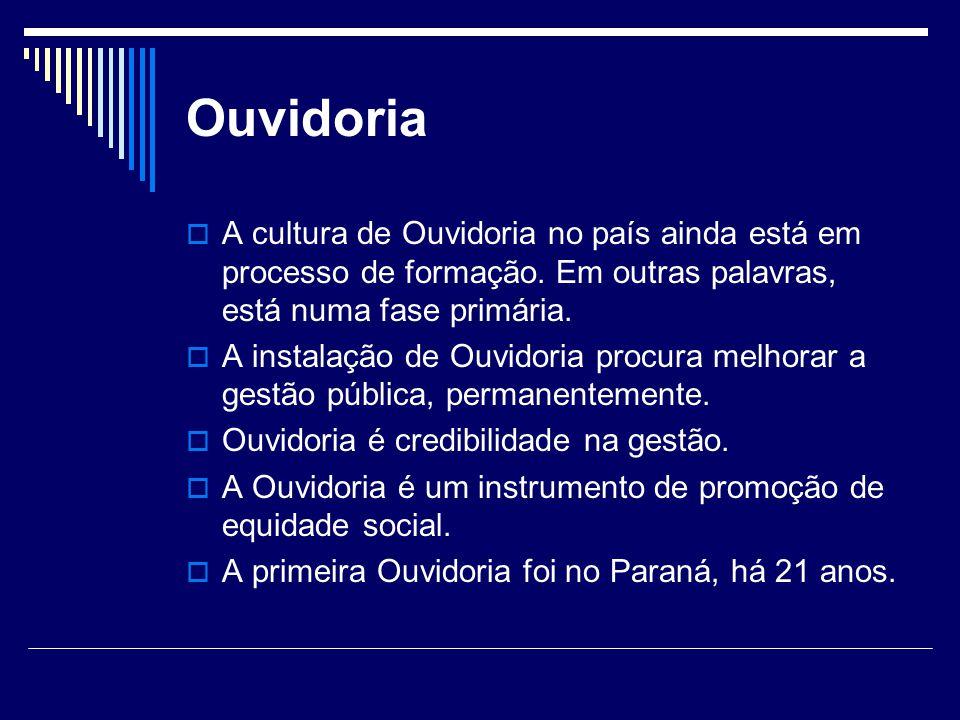 Ouvidoria A cultura de Ouvidoria no país ainda está em processo de formação. Em outras palavras, está numa fase primária. A instalação de Ouvidoria pr
