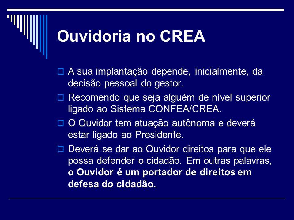Ouvidoria no CREA A sua implantação depende, inicialmente, da decisão pessoal do gestor. Recomendo que seja alguém de nível superior ligado ao Sistema
