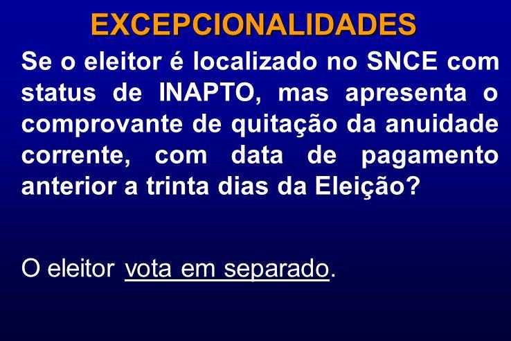 Se o eleitor é localizado no SNCE com status de INAPTO, mas apresenta o comprovante de quitação da anuidade corrente, com data de pagamento anterior a trinta dias da Eleição.