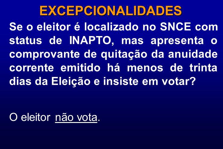 Se o eleitor é localizado no SNCE com status de INAPTO, mas apresenta o comprovante de quitação da anuidade corrente emitido há menos de trinta dias da Eleição e insiste em votar.