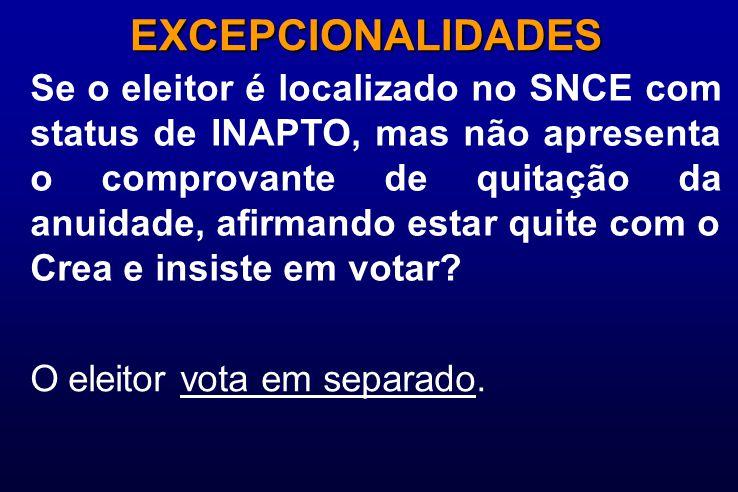 Se o eleitor é localizado no SNCE com status de INAPTO, mas não apresenta o comprovante de quitação da anuidade, afirmando estar quite com o Crea e insiste em votar.
