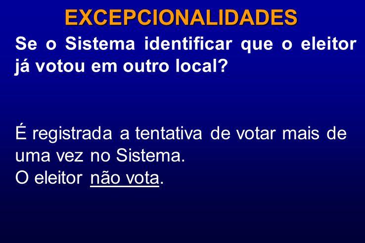 Se o Sistema identificar que o eleitor já votou em outro local? EXCEPCIONALIDADES É registrada a tentativa de votar mais de uma vez no Sistema. O elei