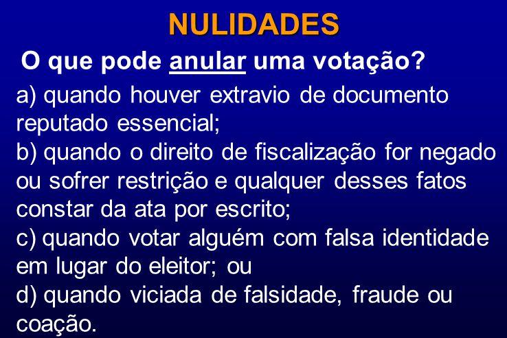 O que pode anular uma votação? NULIDADES a) quando houver extravio de documento reputado essencial; b) quando o direito de fiscalização for negado ou