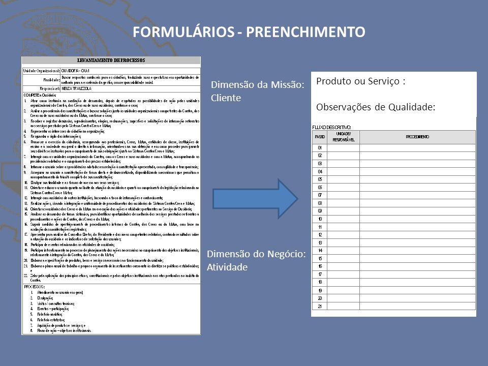 FORMULÁRIOS - PREENCHIMENTO Produto ou Serviço : Observações de Qualidade: Dimensão da Missão: Cliente Dimensão do Negócio: Atividade
