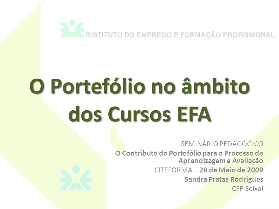 O Portefólio no âmbito dos Cursos EFA SEMINÁRIO PEDAGÓGICO O Contributo do Portefólio para o Processo de Aprendizagem e Avaliação CITEFORMA – 28 de Maio de 2009 Sandra Pratas Rodrigues CFP Seixal