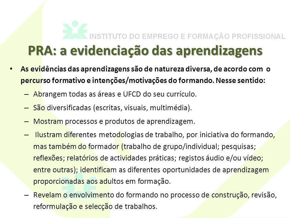 PRA: a evidenciação das aprendizagens As evidências das aprendizagens são de natureza diversa, de acordo com o percurso formativo e intenções/motivações do formando.