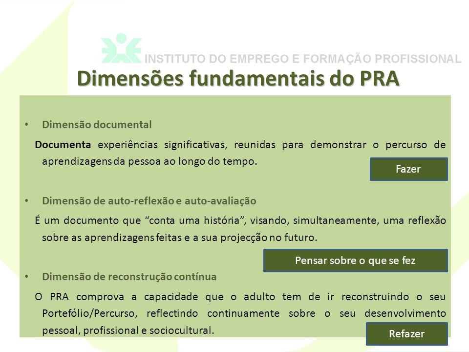 Dimensões fundamentais do PRA Dimensão documental Dimensão documental Documenta experiências significativas, reunidas para demonstrar o percurso de aprendizagens da pessoa ao longo do tempo.