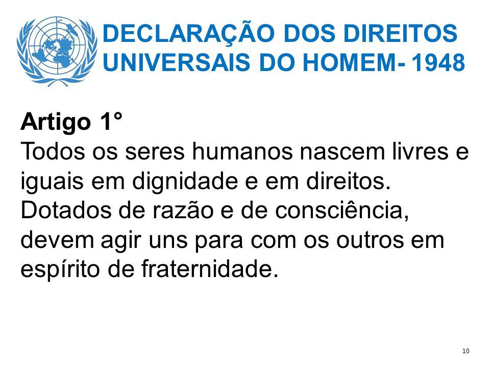 DECLARAÇÃO DOS DIREITOS UNIVERSAIS DO HOMEM- 1948 Artigo 1° Todos os seres humanos nascem livres e iguais em dignidade e em direitos.