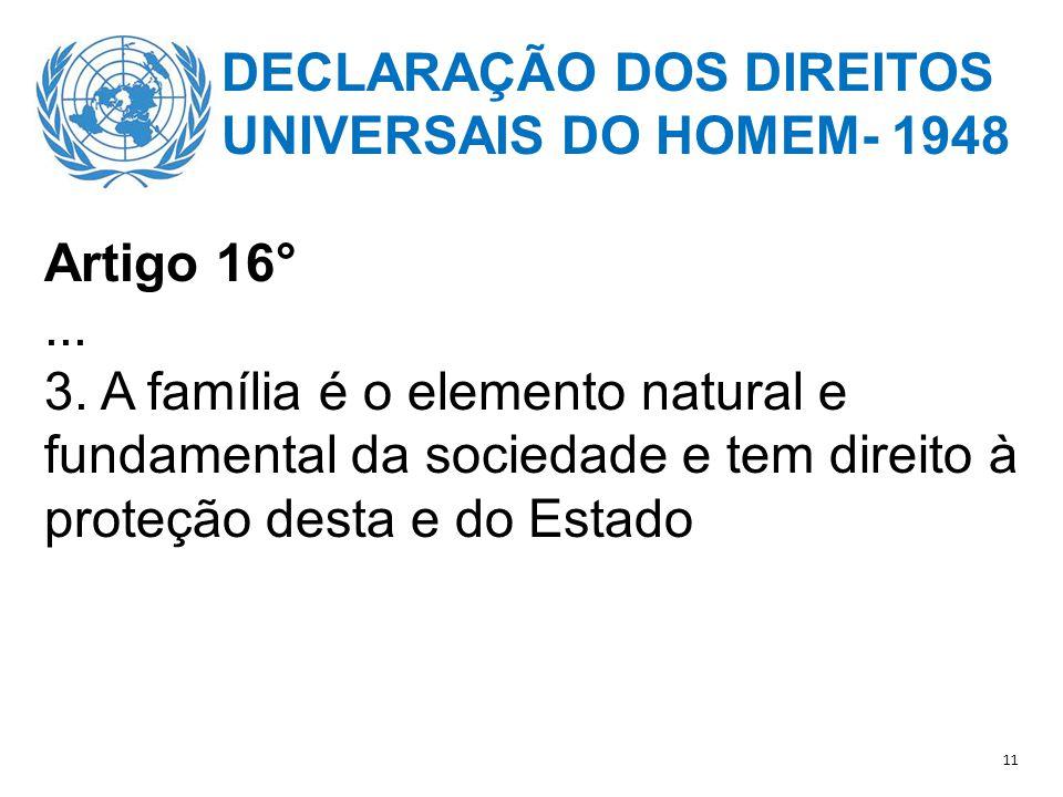 DECLARAÇÃO DOS DIREITOS UNIVERSAIS DO HOMEM- 1948 Artigo 16°...