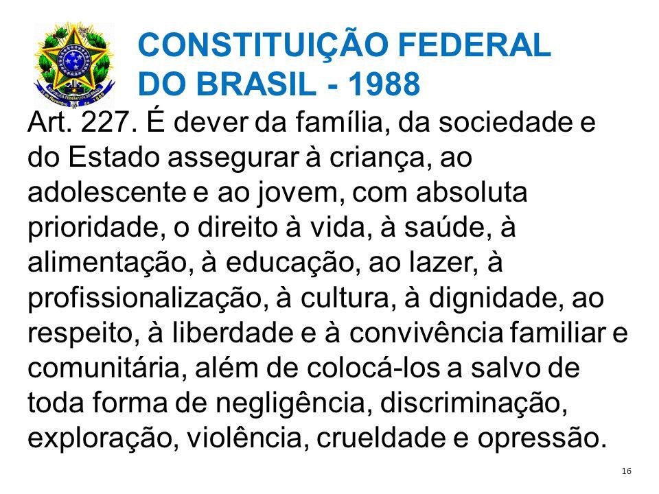CONSTITUIÇÃO FEDERAL DO BRASIL - 1988 Art.227.