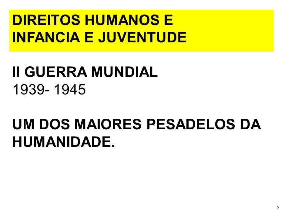 DIREITOS HUMANOS E INFANCIA E JUVENTUDE II GUERRA MUNDIAL 1939- 1945 UM DOS MAIORES PESADELOS DA HUMANIDADE.