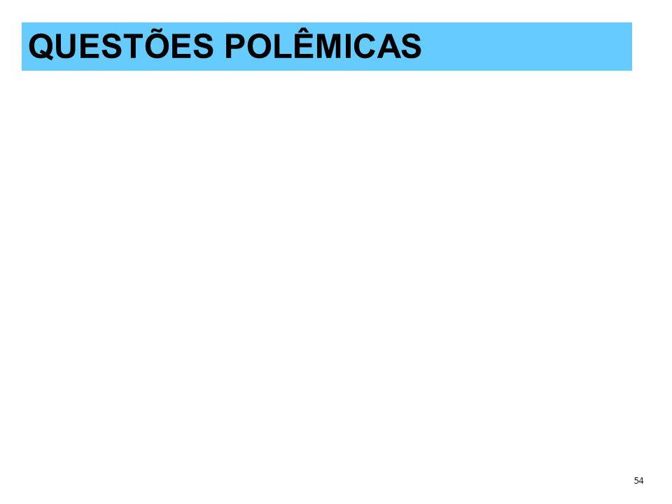 QUESTÕES POLÊMICAS 54 QUESTÕES POLÊMICAS