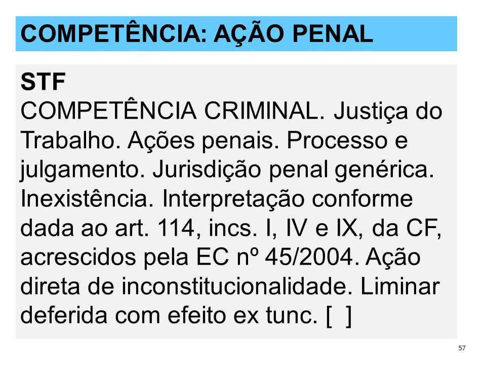 QUESTÕES POLÊMICAS 57 COMPETÊNCIA: AÇÃO PENAL STF COMPETÊNCIA CRIMINAL.