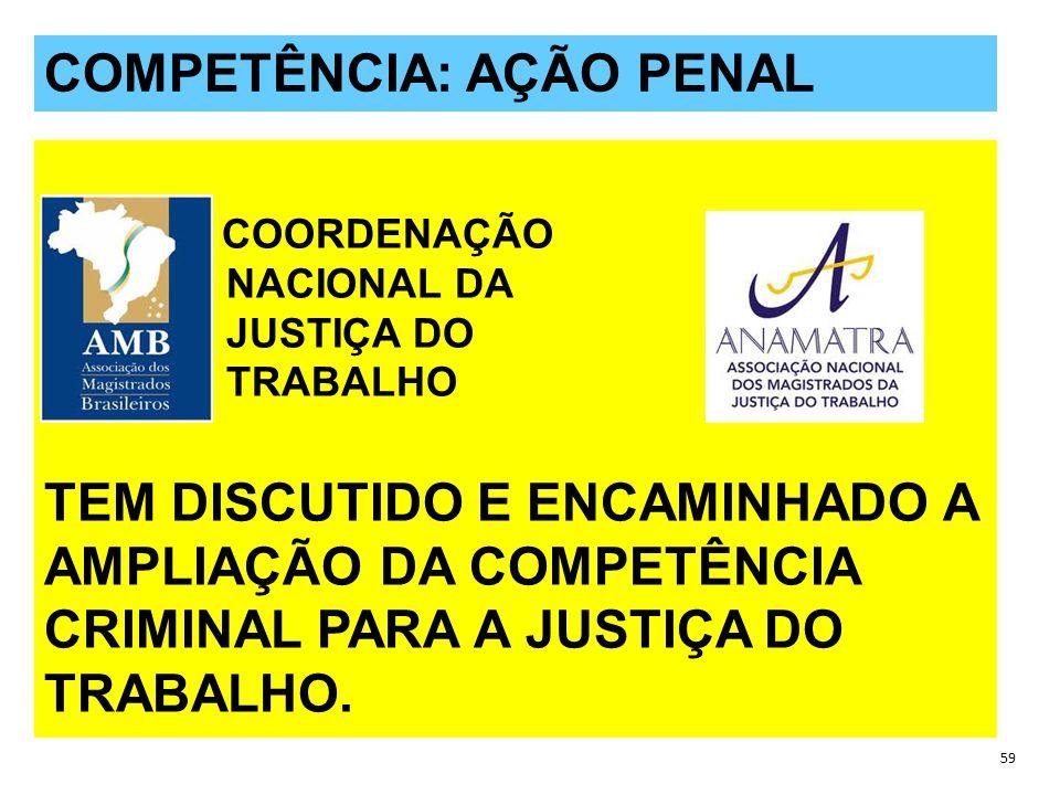 QUESTÕES POLÊMICAS 59 COMPETÊNCIA: AÇÃO PENAL C COORDENAÇÃO NACIONAL DA JUSTIÇA DO TRABALHO TEM DISCUTIDO E ENCAMINHADO A AMPLIAÇÃO DA COMPETÊNCIA CRIMINAL PARA A JUSTIÇA DO TRABALHO.