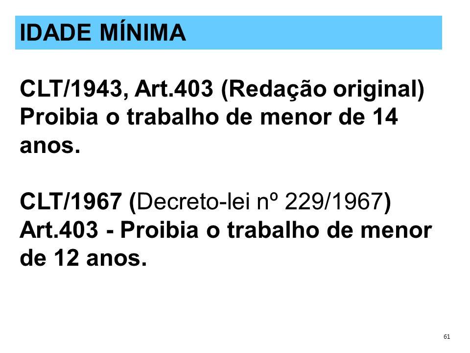 CLT/1943, Art.403 (Redação original) Proibia o trabalho de menor de 14 anos.