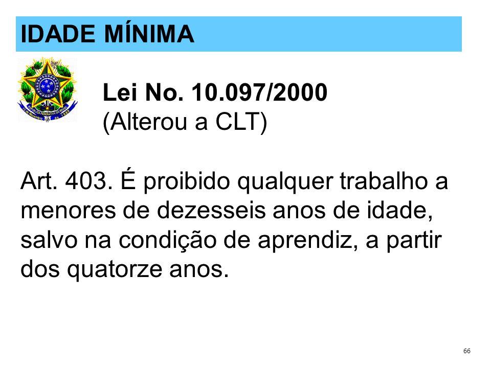 Lei No.10.097/2000 (Alterou a CLT) Art. 403.