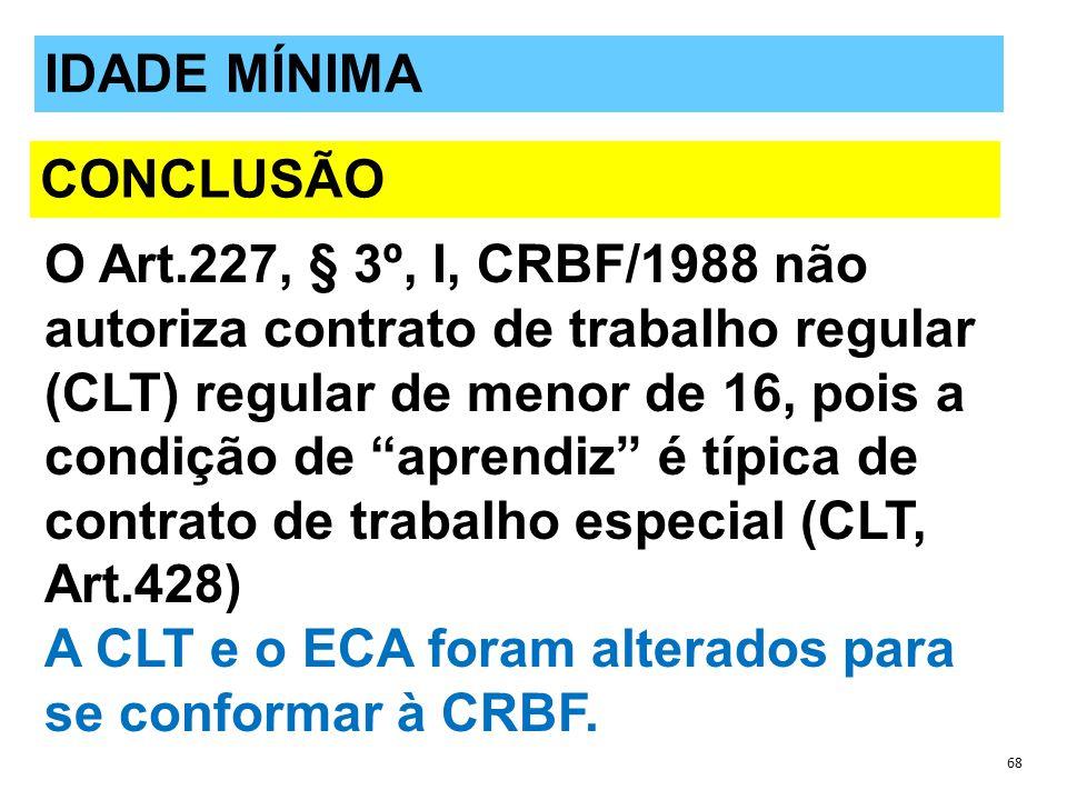 O Art.227, § 3º, I, CRBF/1988 não autoriza contrato de trabalho regular (CLT) regular de menor de 16, pois a condição de aprendiz é típica de contrato de trabalho especial (CLT, Art.428) A CLT e o ECA foram alterados para se conformar à CRBF.