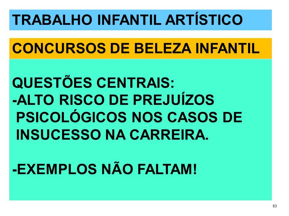 QUESTÕES POLÊMICAS 83 TRABALHO INFANTIL ARTÍSTICO CONCURSOS DE BELEZA INFANTIL QUESTÕES CENTRAIS: -ALTO RISCO DE PREJUÍZOS PSICOLÓGICOS NOS CASOS DE INSUCESSO NA CARREIRA.