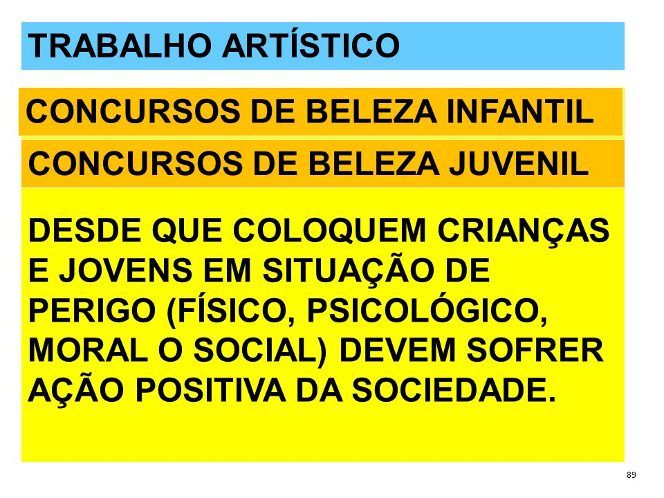 QUESTÕES POLÊMICAS 89 TRABALHO ARTÍSTICO DESDE QUE COLOQUEM CRIANÇAS E JOVENS EM SITUAÇÃO DE PERIGO (FÍSICO, PSICOLÓGICO, MORAL O SOCIAL) DEVEM SOFRER AÇÃO POSITIVA DA SOCIEDADE.