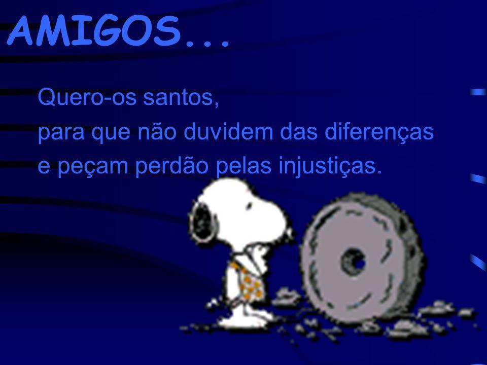 Quero-os santos, para que não duvidem das diferenças e peçam perdão pelas injustiças. AMIGOS...