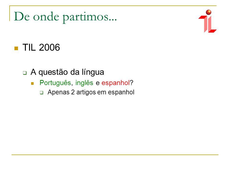 De onde partimos... TIL 2006 A questão da língua Português, inglês e espanhol.