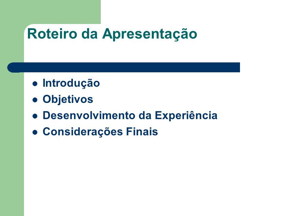 Roteiro da Apresentação Introdução Objetivos Desenvolvimento da Experiência Considerações Finais