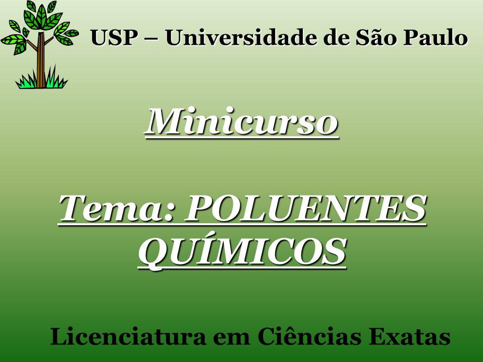 Minicurso Tema: POLUENTES QUÍMICOS USP – Universidade de São Paulo Licenciatura em Ciências Exatas