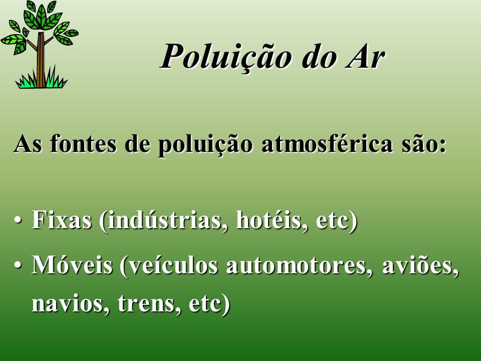 As fontes de poluição atmosférica são: Fixas (indústrias, hotéis, etc)Fixas (indústrias, hotéis, etc) Móveis (veículos automotores, aviões, navios, trens, etc)Móveis (veículos automotores, aviões, navios, trens, etc) Poluição do Ar