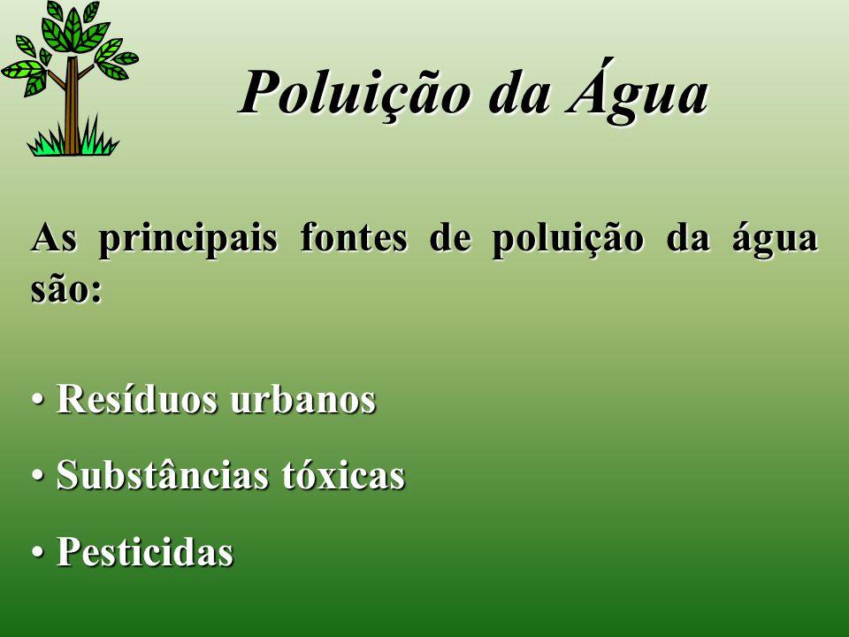 As principais fontes de poluição da água são: Resíduos urbanos Resíduos urbanos Substâncias tóxicas Substâncias tóxicas Pesticidas Pesticidas Poluição da Água