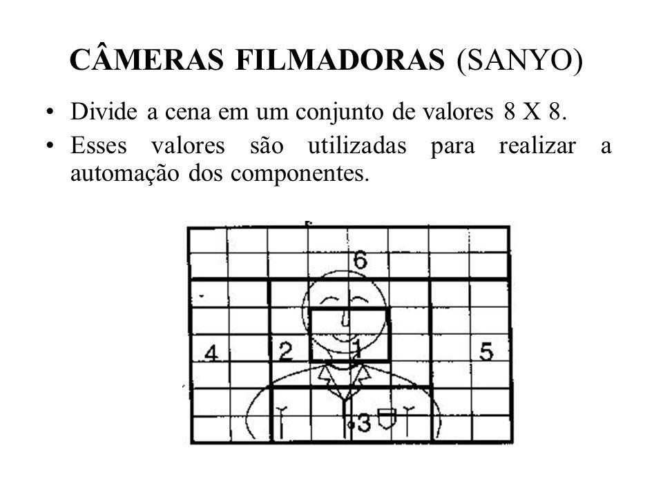 CÂMERAS FILMADORAS (SANYO) Divide a cena em um conjunto de valores 8 X 8. Esses valores são utilizadas para realizar a automação dos componentes.
