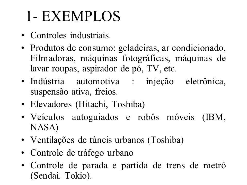 1- EXEMPLOS Controles industriais. Produtos de consumo: geladeiras, ar condicionado, Filmadoras, máquinas fotográficas, máquinas de lavar roupas, aspi
