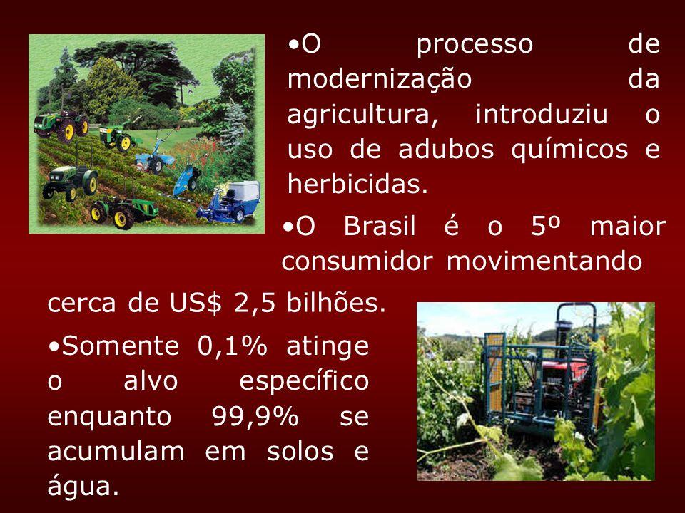 O processo de modernização da agricultura, introduziu o uso de adubos químicos e herbicidas. cerca de US$ 2,5 bilhões. Somente 0,1% atinge o alvo espe