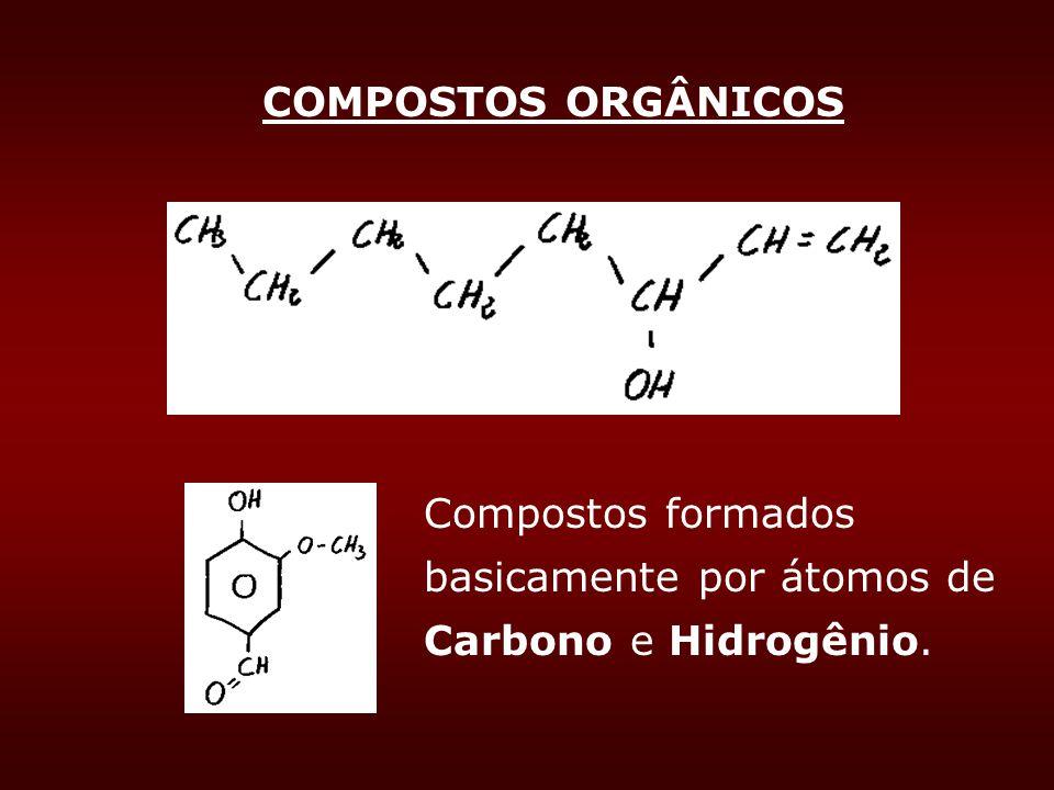 COMPOSTOS ORGÂNICOS Compostos formados basicamente por átomos de Carbono e Hidrogênio.