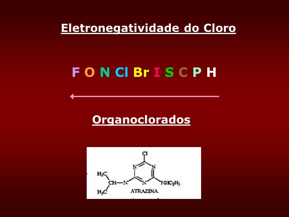 F O N Cl Br I S C P H Eletronegatividade do Cloro Organoclorados