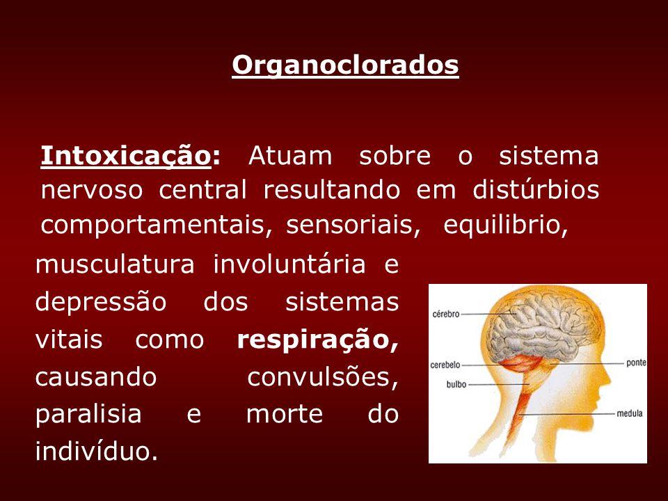 musculatura involuntária e depressão dos sistemas vitais como respiração, causando convulsões, paralisia e morte do indivíduo. Intoxicação: Atuam sobr