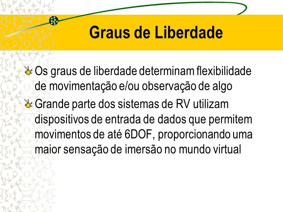 Graus de Liberdade Os graus de liberdade determinam flexibilidade de movimentação e/ou observação de algo Grande parte dos sistemas de RV utilizam dis