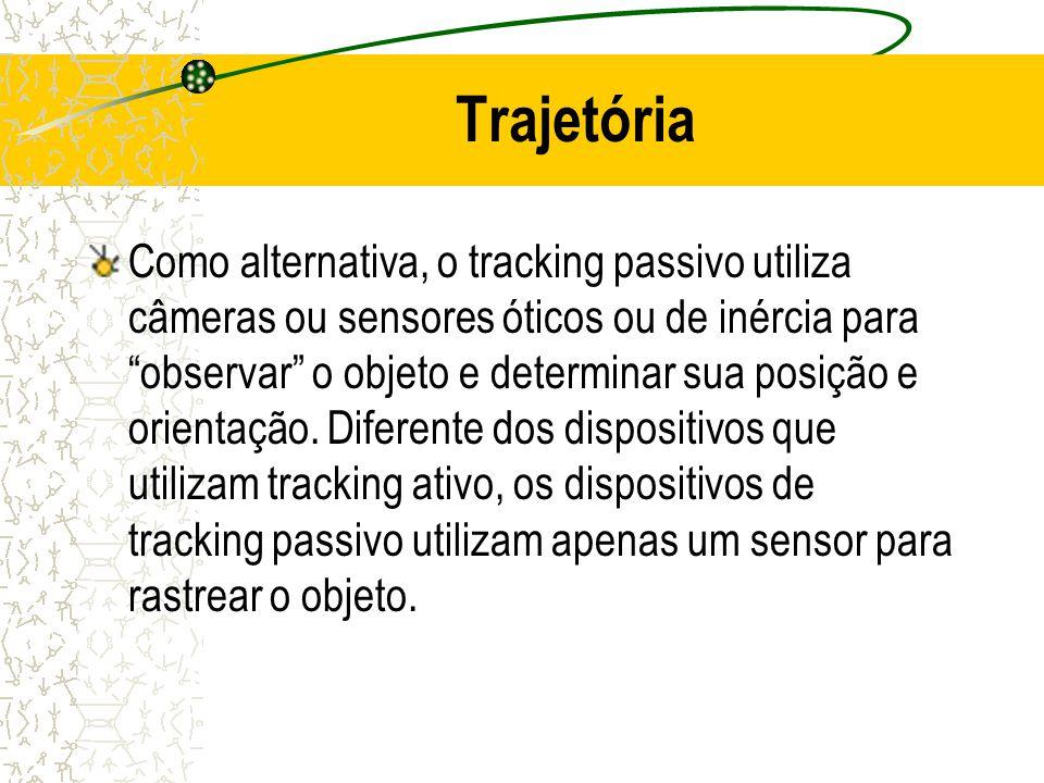 Trajetória Como alternativa, o tracking passivo utiliza câmeras ou sensores óticos ou de inércia para observar o objeto e determinar sua posição e ori