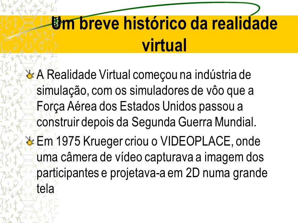 Um breve histórico da realidade virtual A Realidade Virtual começou na indústria de simulação, com os simuladores de vôo que a Força Aérea dos Estados