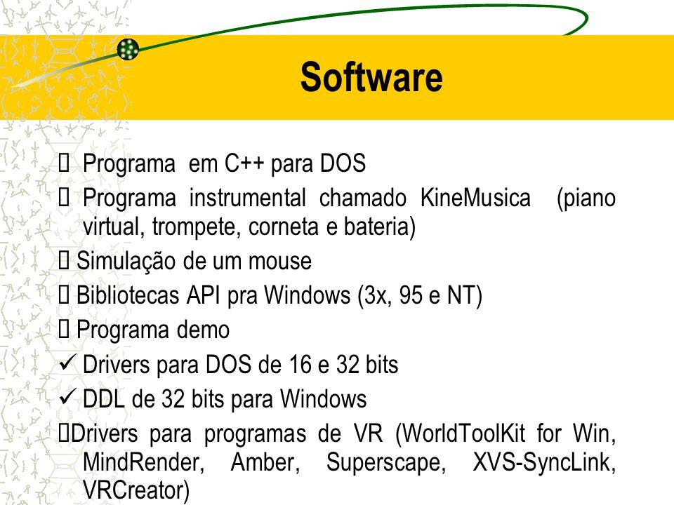 Software Programa em C++ para DOS Programa instrumental chamado KineMusica (piano virtual, trompete, corneta e bateria) Simulação de um mouse Bibliote