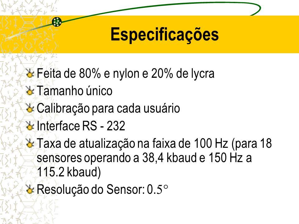 Especificações Feita de 80% e nylon e 20% de lycra Tamanho único Calibração para cada usuário Interface RS - 232 Taxa de atualização na faixa de 100 H